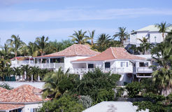 Homes on hill near Marigot St. Martin-Caribbean Island. White houses on hill with palm trees and other tropical foliage Royalty Free Stock Image