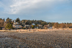 Homes On The Hill 2. A view of hillside shoreline homes in Normandy Park, Washington stock images