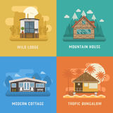 Homes and Houses Dwelling Set Royalty Free Stock Photos