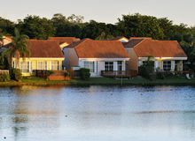 Homes by a Lake Stock Image