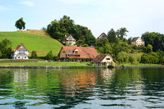 Homes on Lake Lucerne Stock Photography