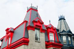 Homes Montreal. Montreal houses with roofs colored wood stock photography
