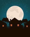Homes In The Moonlight Royalty Free Stock Photography