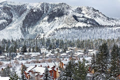 Homes and Mountains with Snow stock photography