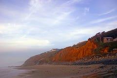 Homes on mudstone cliffs. Above the beach  near Yaquina Head, Newport, Oregon coast Royalty Free Stock Photo