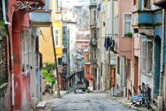 Homes of narrow street in Turkey Royalty Free Stock Images
