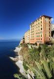 Homes over the sea in Camogli Stock Photos