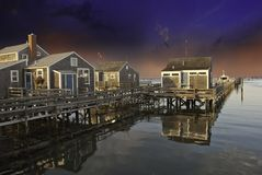 Homes over Water in Nantucket Royalty Free Stock Images