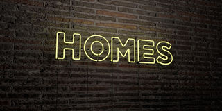 HOMES -Realistic Neon Sign on Brick Wall background - 3D rendered royalty free stock image Stock Images