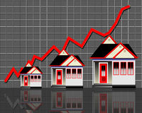 Homes with red graph line Royalty Free Stock Images