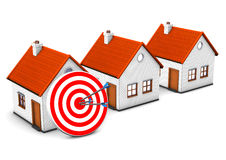 3 Homes Red Target. 3 houses with red target and arrow on the white Stock Photography