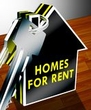 Homes For Rent Shows Real Estate 3d Rendering. Homes For Rent Keys Shows Real Estate 3d Rendering Royalty Free Stock Photos