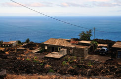 Homes by the road and sea in Fogo, Cabo Verde Stock Image