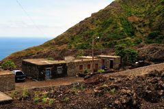 Homes by the road and sea in Fogo, Cabo Verde Stock Images