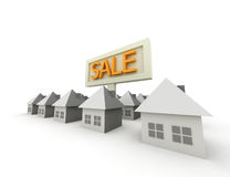 Homes for sale. Illustration on white isolated Stock Photos