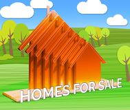 Homes For Sale Means Sell House 3d Illustration. Homes For Sale Houses Means Sell House 3d Illustration Royalty Free Stock Photos