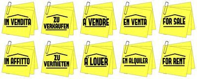 Homes for sales homes for rent isolated. Image representing some colorful post it with the words homes for rent and homes for sales in different languages. An Royalty Free Stock Photos