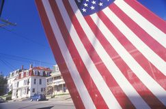 Homes Seen Through American Flag, Stonington, Maine Royalty Free Stock Photography