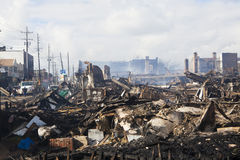 Homes sit smoldering after Hurricane Royalty Free Stock Photo