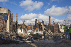 Homes sit smoldering after Hurricane. NEW YORK - October 31: Homes sit smoldering after Hurricane Sandy  in the Far Rockaway area . Over 50 homes were reportedly Stock Photos