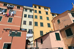 Homes in Sori, Italy. Characteristic houses in Sory, small village in liguria, Italy Royalty Free Stock Images