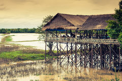 Homes on stilts on the floating village of Kampong Phluk, Tonle Stock Photo
