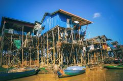 Homes on stilts on the floating village of Kampong Phluk, Tonle. Sap lake,Siem Reap province, Cambodia Stock Images