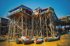 Homes on stilts on the floating village of Kampong Phluk Stock Image