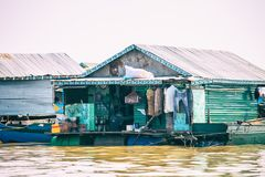 Homes on stilts on the floating village of Kampong Phluk, Tonle Sap lake, Siem Reap province, Cambodia Stock Photo