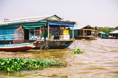 Homes on stilts on the floating village of Kampong Phluk, Tonle Sap lake, Siem Reap province, Cambodia Royalty Free Stock Photo