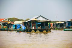 Homes on stilts on the floating village of Kampong Phluk, Tonle Sap lake, Siem Reap province, Cambodia Stock Images