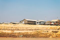 Homes on stilts on the floating village of Kampong Phluk, Tonle Sap lake, Siem Reap province, Cambodia Royalty Free Stock Images