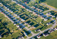 Homes in Suberbia aerial photo. Aerial photo of Residential houses in a neighborhood subdivision in rural sprawl known as suberbia Stock Images