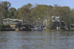 Homes in the swamp. Many houses located by the river Royalty Free Stock Image