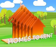 Homes To Rent Displays Real Estate 3d Illustration. Homes To Rent Houses Displays Real Estate 3d Illustration Stock Images