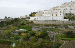Homes and vegetable gardens in Monte Sant`Angelo Stock Photography