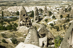 Homes in volcanic rock formations of Cappadocia Stock Photo