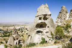 Homes in volcanic rock formations of Cappadocia, Turkey Stock Images