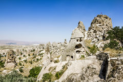 Homes in volcanic rock formations of Cappadocia, Turkey Royalty Free Stock Images