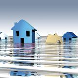 Homes water. 3D rendering, homes with underwater Stock Images