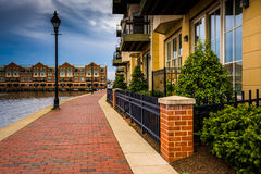 Homes on the waterfront in Fells Point, Baltimore, Maryland. Stock Photo