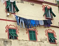 Clothes drying on a line stock image
