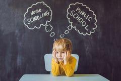 Homeschooling contra escolas públicas - o menino senta-se na tabela e Foto de Stock Royalty Free