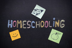 Homeschooling handstil på svart tavla royaltyfri fotografi