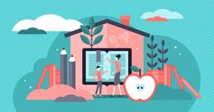 Homeschooling vektorillustration Mycket litet begrepp för personer för utbildningssystem arkivfoton