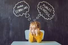 Homeschooling vs Public Schools - The boy sits at the table and Royalty Free Stock Photo
