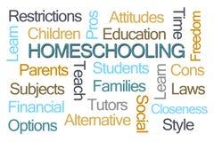 Homeschoolings-Wort-Wolke Stockfotos