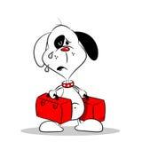 A Homesick cartoon Dog with luggage Royalty Free Stock Photos