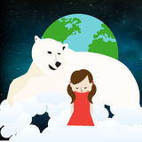 Homesickness. A little girl felt homesick. She`s on another planet far from Earth. Accompanied by her great friend, a white polar bear Royalty Free Stock Photos