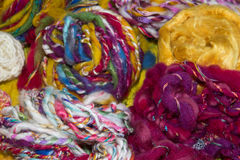 Homespun art yarns Royalty Free Stock Photography